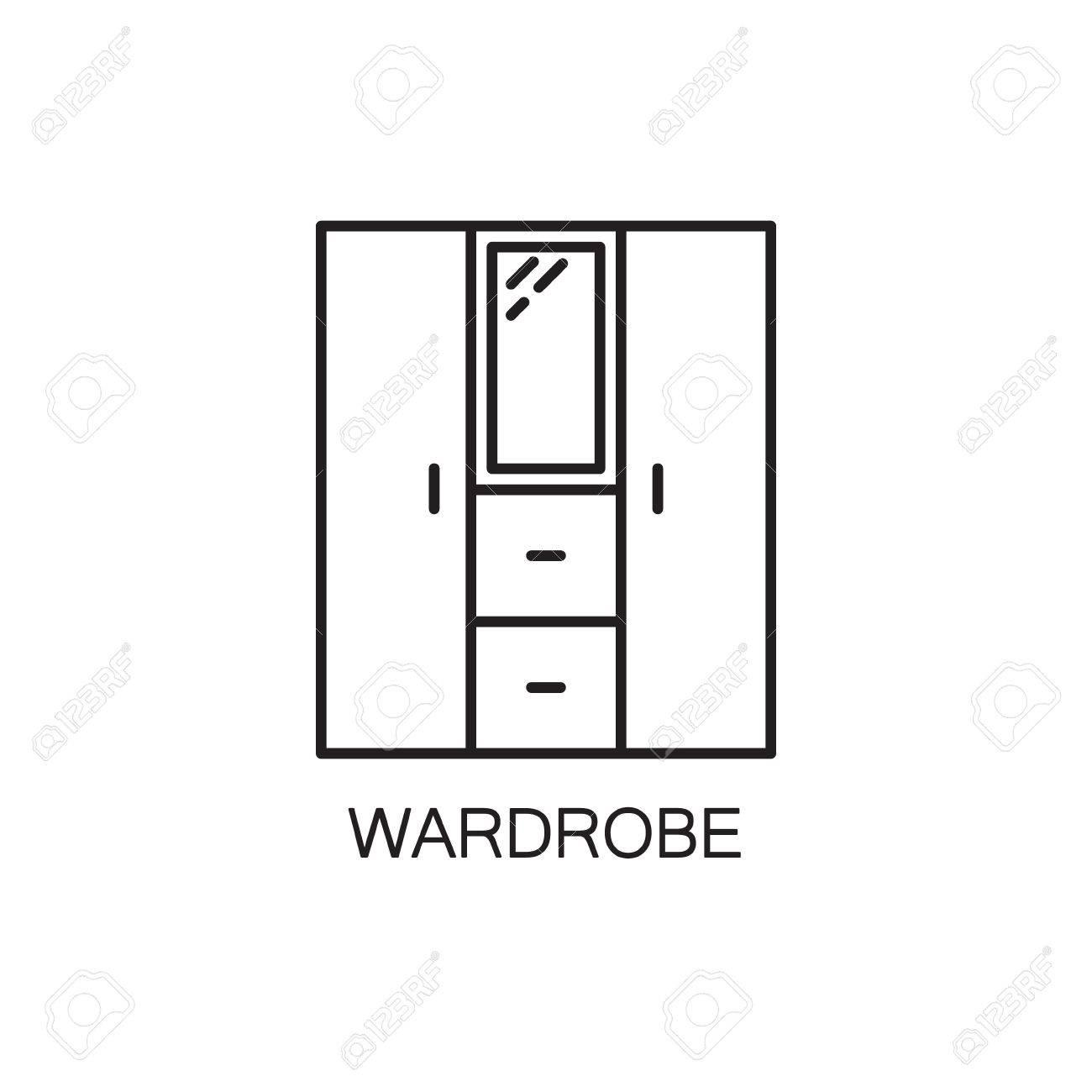 pictogramme de haute qualite de la garde robe pour l interieur de la maison outline symbole de vecteur pour le site web de la conception ou l application