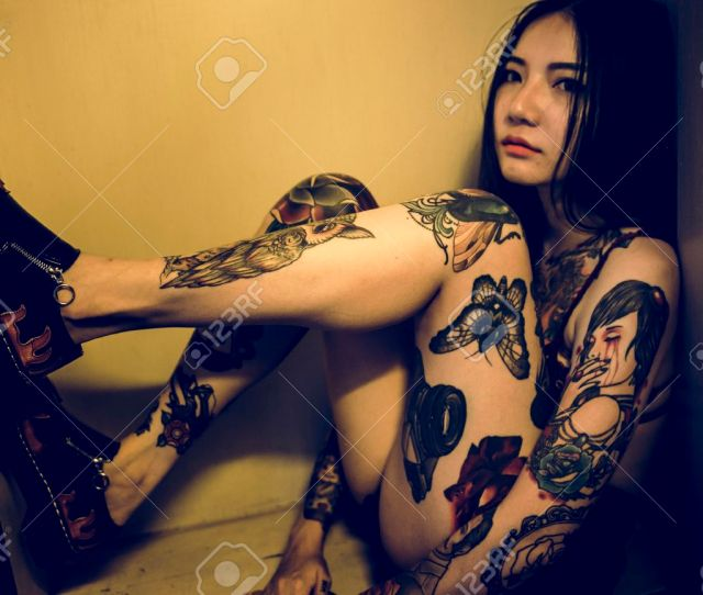 Stock Photo Tattoo Seductive Sexy Teen Girl Vogue Youth Concept