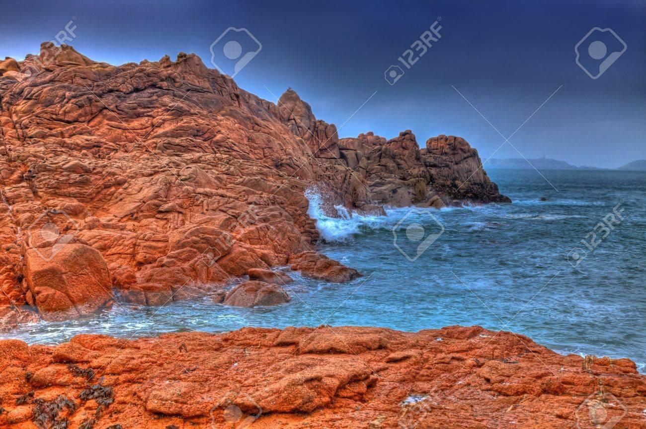 banque d images beau paysage en bretagne dans le nord ouest de la france l endroit est appele cote de granit rose adn c est l une des cotes
