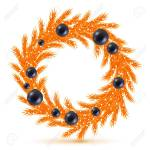 Stylish Orange Christmas Tree Wreath With Decorations Spruce Royalty Free Cliparts Vectors And Stock Illustration Image 33700441