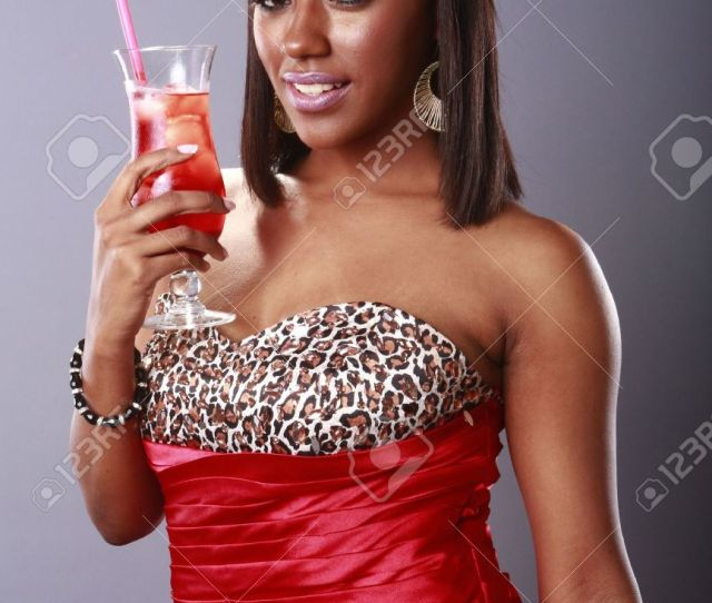 Red Hot Girl And Cold Red Drink Stock Photo 18122606