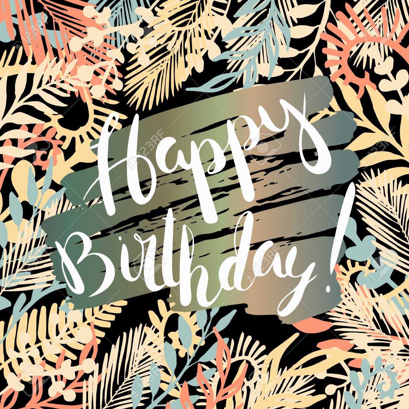 Happy Birthday Greeting Card Template With Handwritten Elegance Royalty Free Cliparts Vectors And Stock Illustration Image 70795967