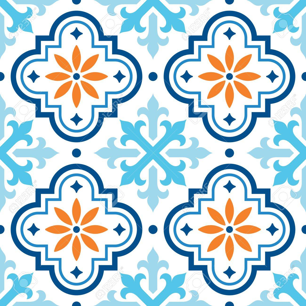 spanish tile pattern moroccan tiles design seamless blue and