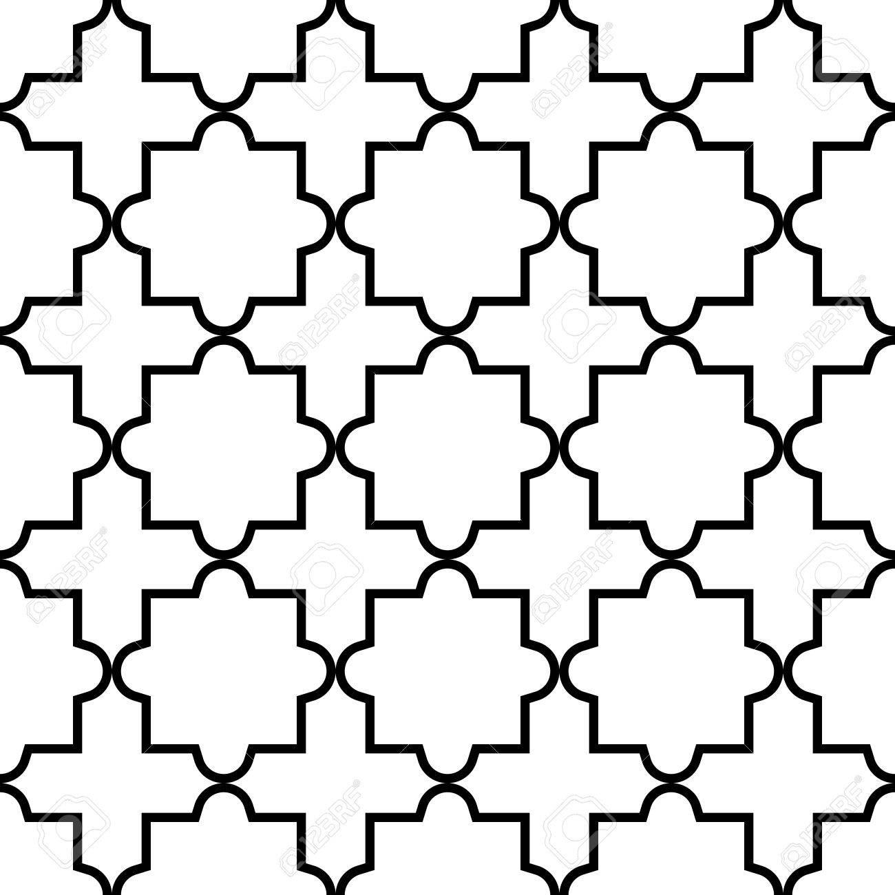 geometric seamless pattern moroccan tiles design black and