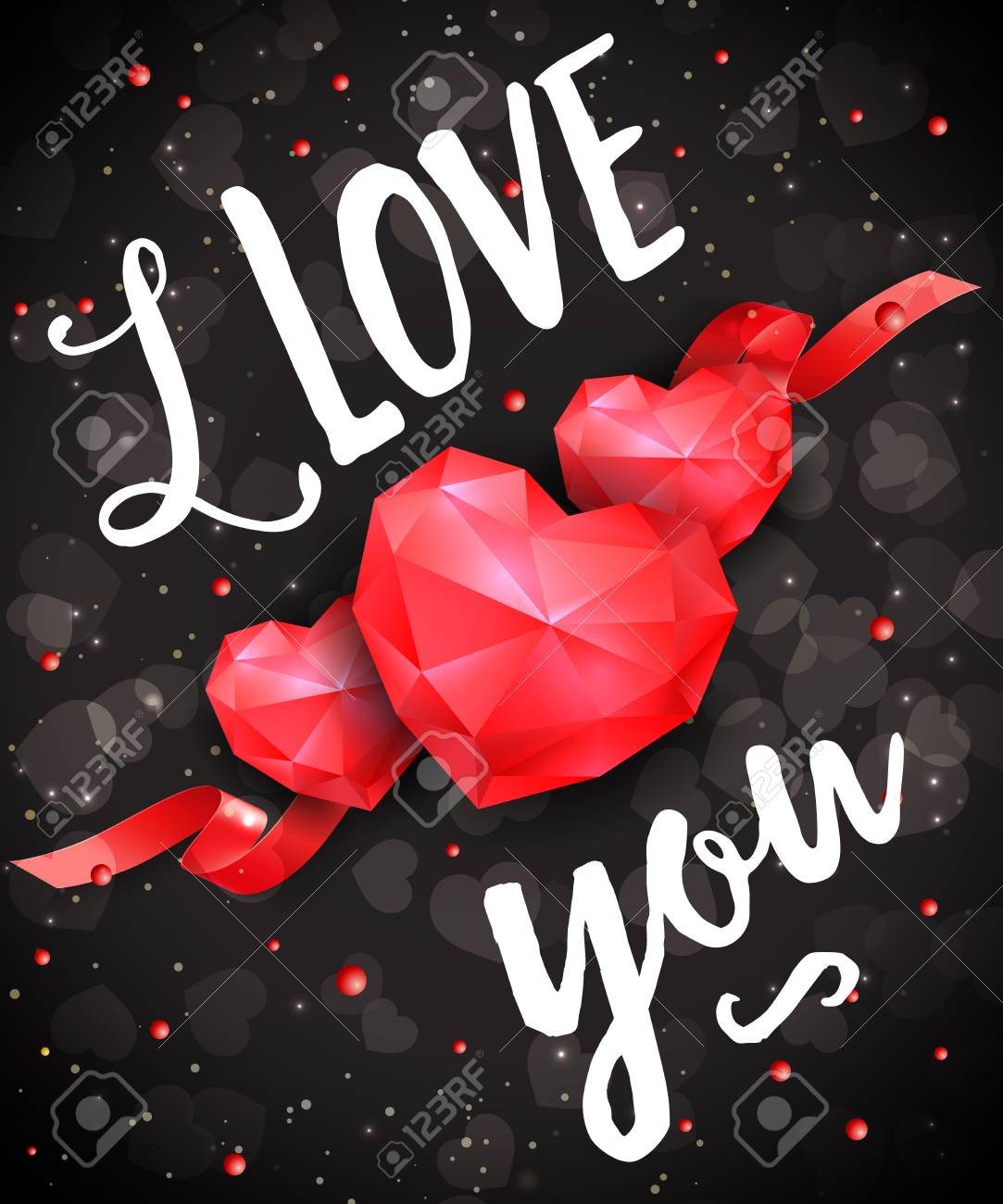 i love you lettering with ruby hearts on black background calligraphic