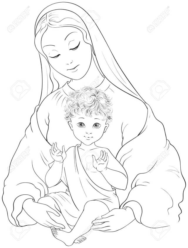 Madonna And Child. Blessed Virgin Mary With Baby Jesus Vector