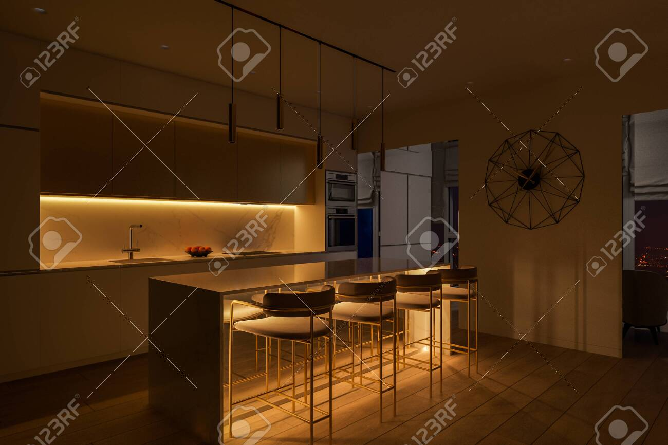 3d illustration of a kitchen with night lighting kitchen interior stock photo picture and royalty free image image 152445006