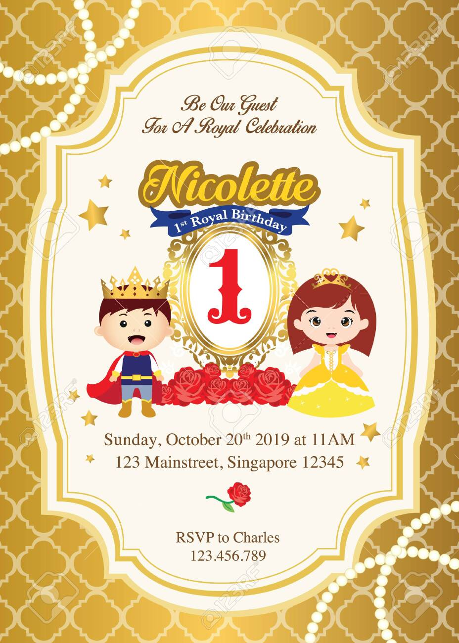 first royal birthday invitation with cute prince and princess