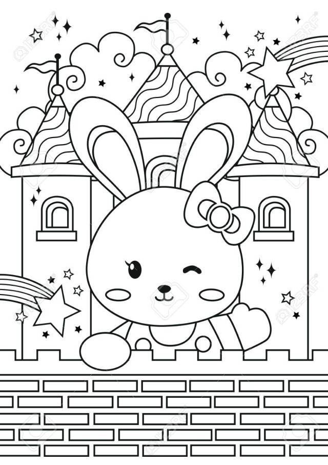 Bunny Princess In The Castle Coloring Pages. Kids Coloring Book