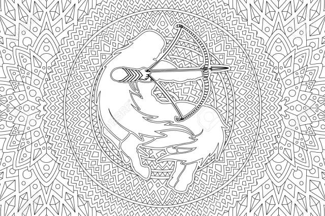 Beautiful Coloring Book Page With Zodiac Symbol Sagittarius White
