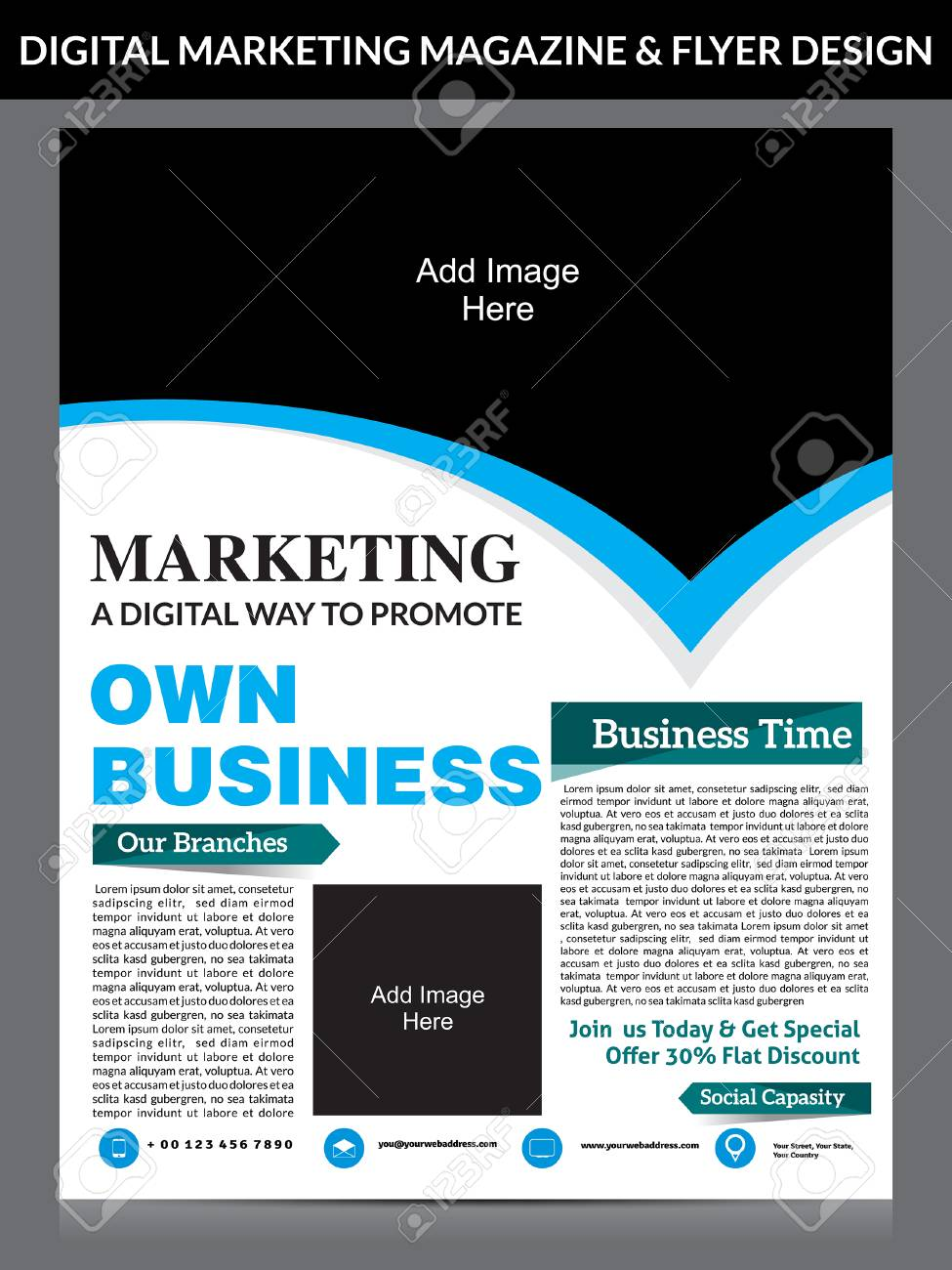 Digital Marketing Flyer Magazine Design Template Vector Illustration