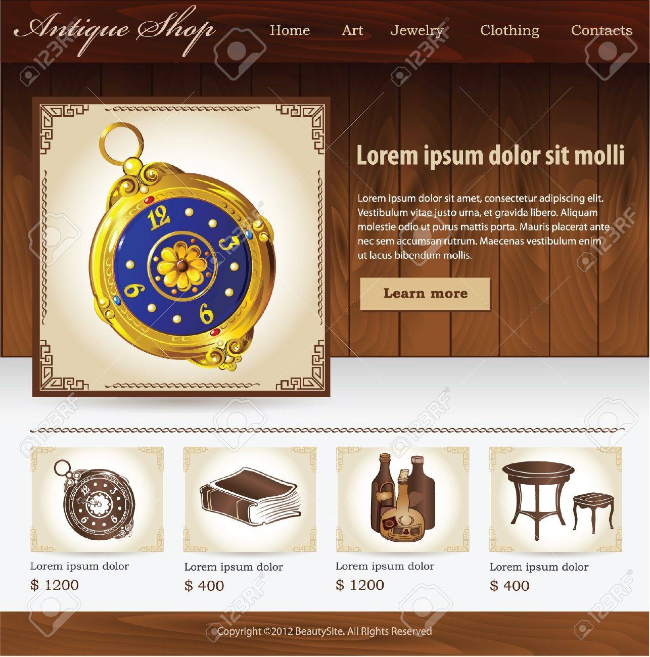 Design Template For Antique Shop Website