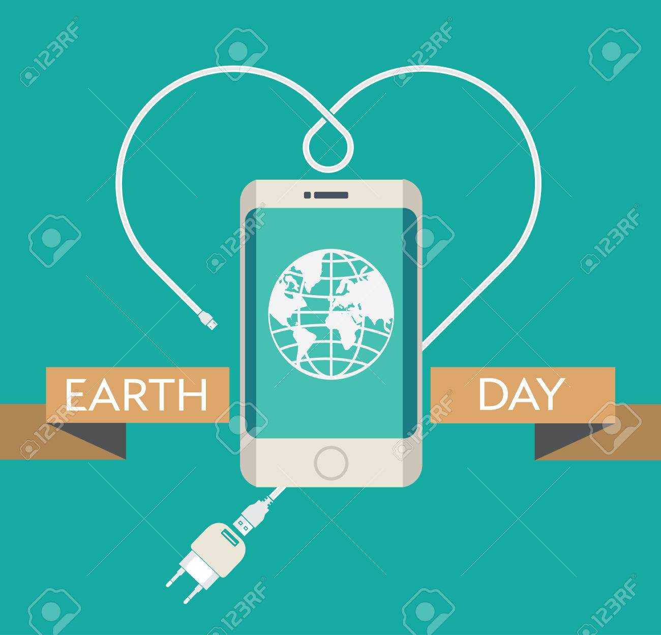 earth day celebration poster design template with modern mobile