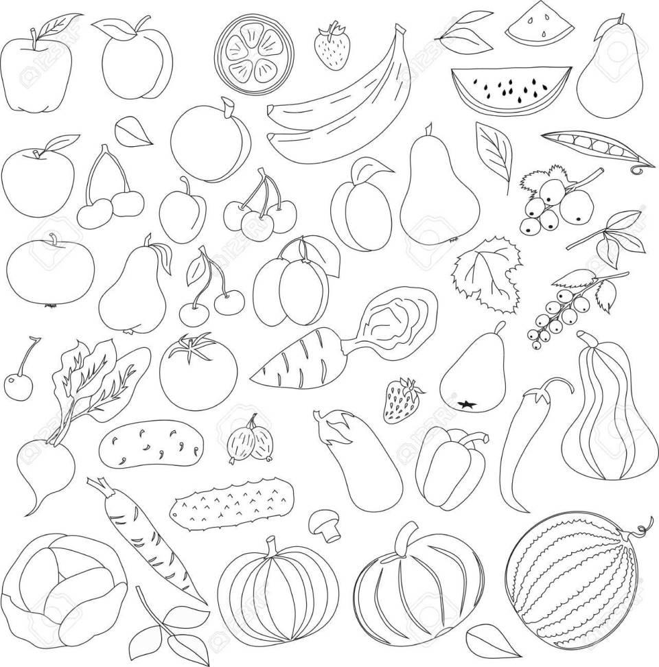 鉛筆塗り絵のパターンは、白地に黒の線で果物や野菜のアイコン パターン