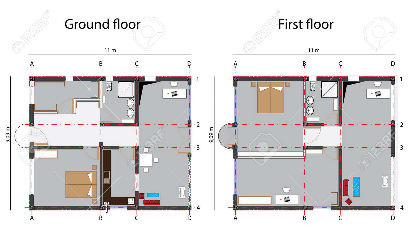 Best Kitchen Gallery: Home Design Blueprint Ground And First Floor Abstract Vector of Blueprint Home Design  on rachelxblog.com