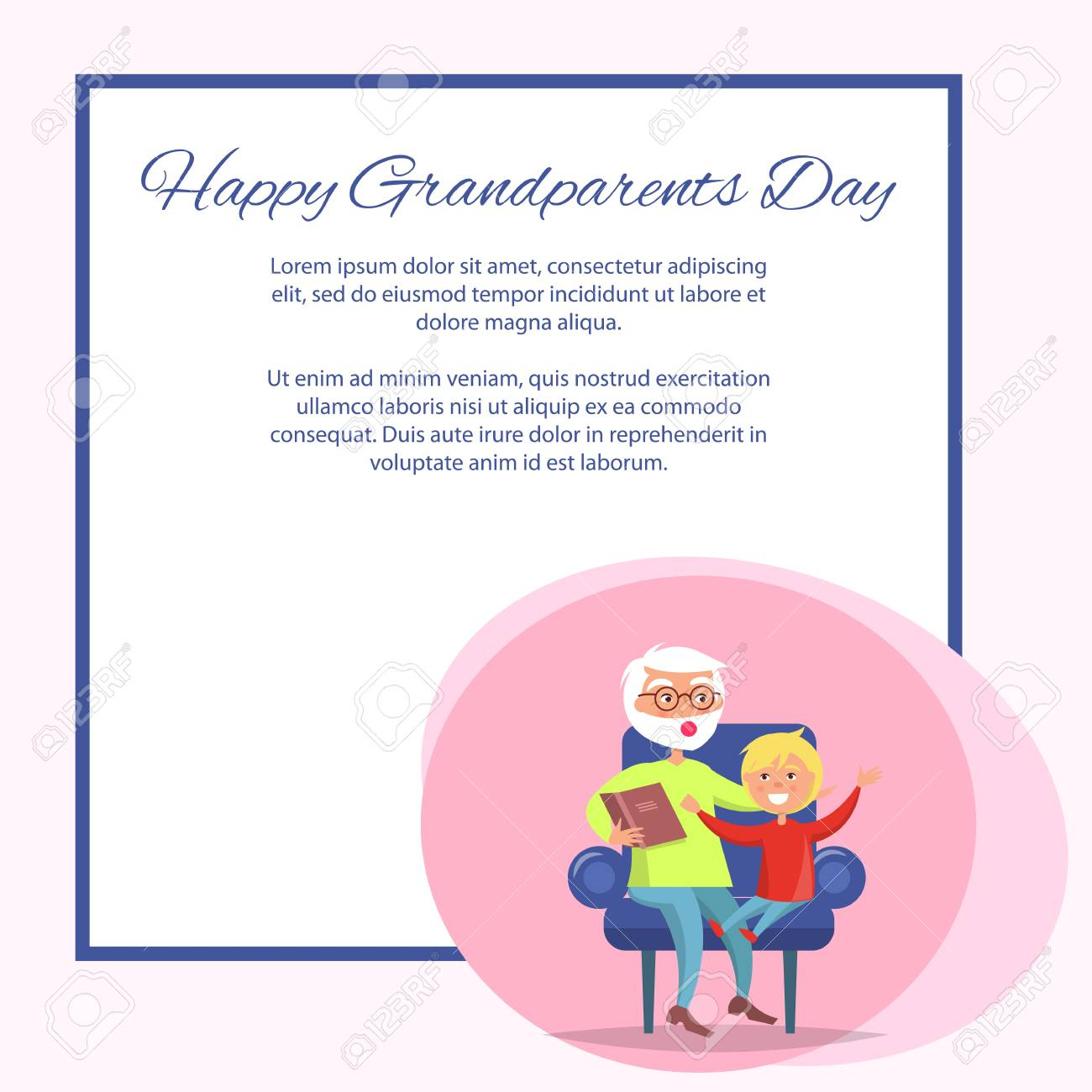 Happy Grandparents Day Grandpa Reading To Grandson Royalty Free Cliparts Vectors And Stock Illustration Image 90750739