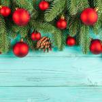 Christmas Banner With Green Tree Red Ball Decorations Cones Stock Photo Picture And Royalty Free Image Image 88928391