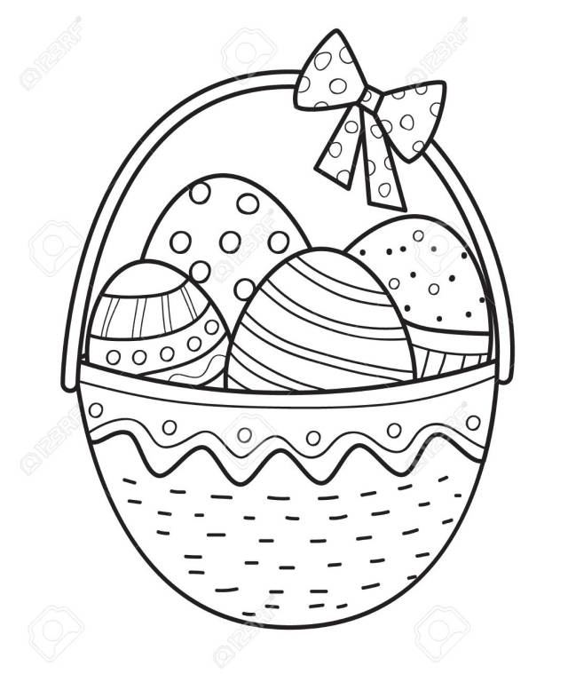 Easter Basket Ouline With Eggs. Coloring Page.Vector Illustration