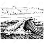 Seewelle Grafik Kunst Schwarz Weiss Landschaft Lizenzfrei Nutzbare Vektorgrafiken Clip Arts Illustrationen Image 72923373