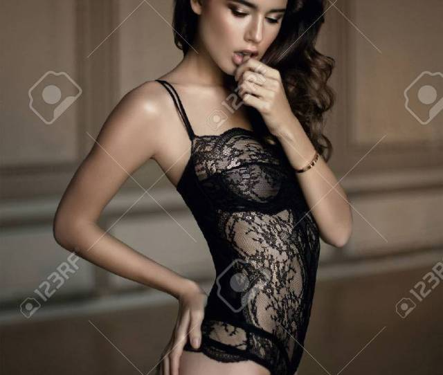 Beautiful Sexy Woman In Expensive Lace Lingerie Portrait Of Hot Girl In Luxury Lingerie Stock