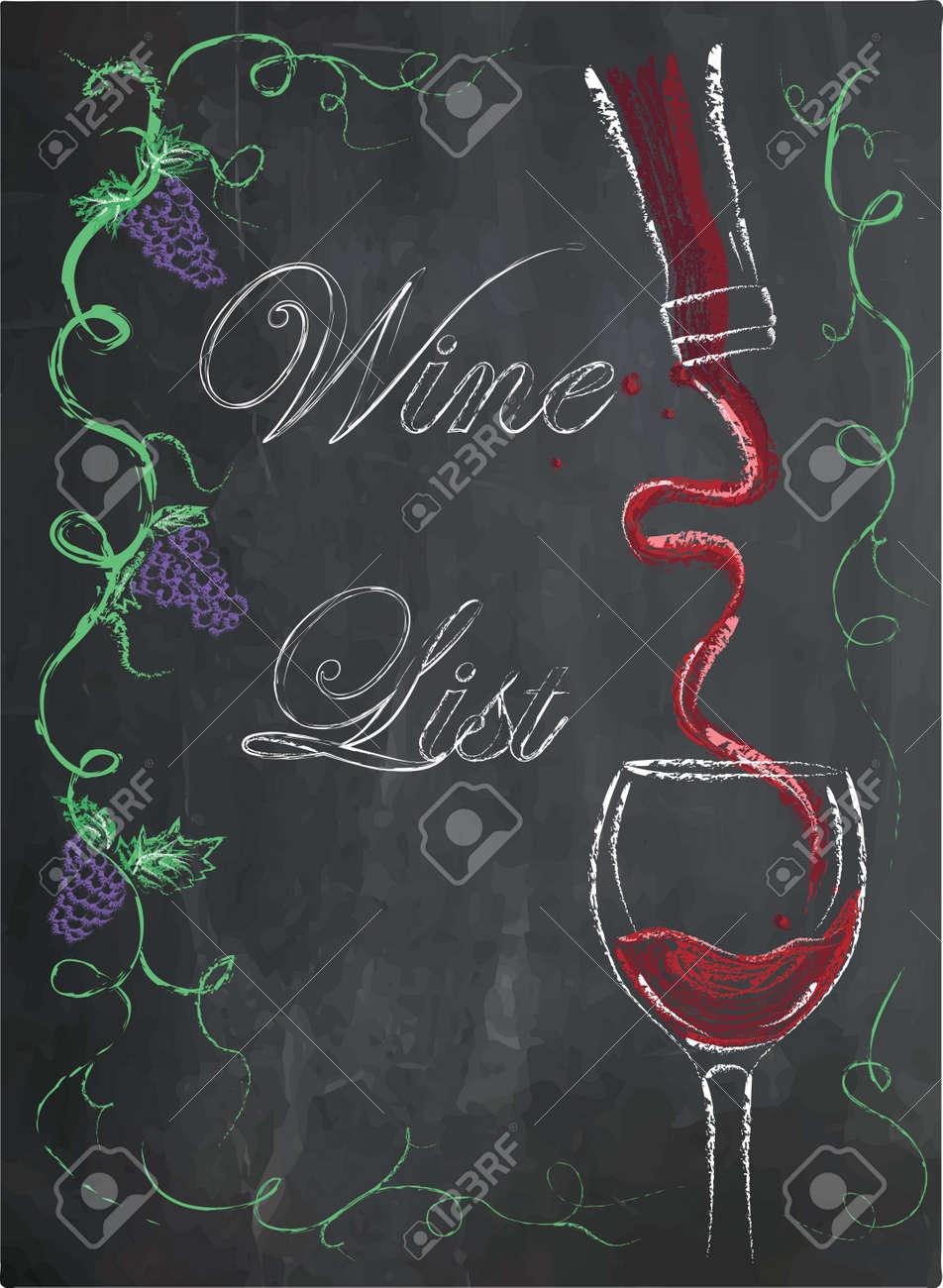 carte des vins avec verre a vin et bouteille de vin sur fond de tableau