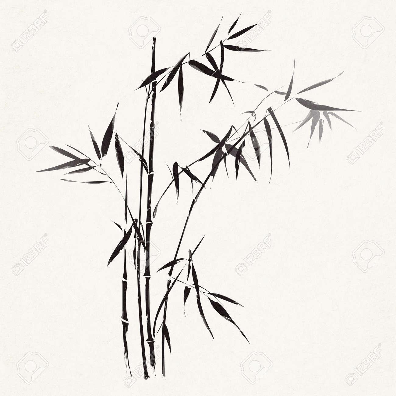 branches de bambou decrites dans le style noir et blanc traditionnelle asiatique