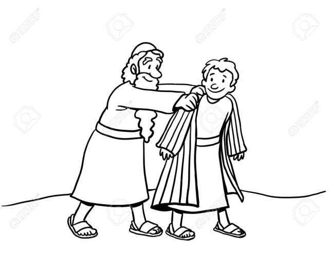 Coloring Page Of Joseph Wearing Coat Stock Photo, Picture And