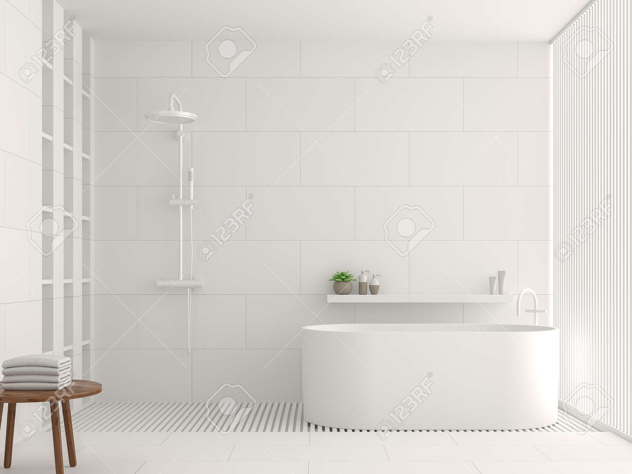 modern white bathroom interior 3d rendering image there are