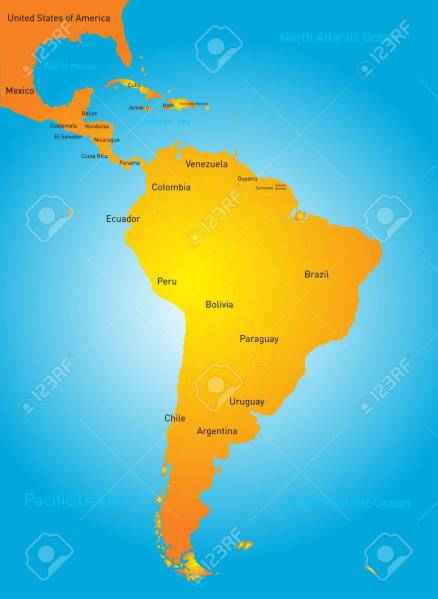 Color Map Of South America Countries Royalty Free Cliparts  Vectors     color map of South America countries Stock Vector   31476048