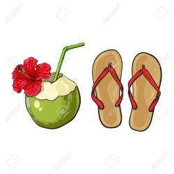 153752e0dacbd7 Pair Of Flip Flops And Coconut Drink