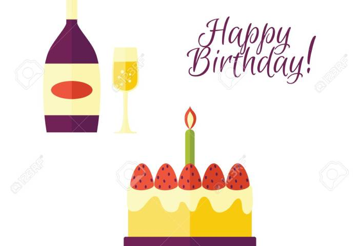 Flat Vector Glass Of Champagne Bottle Birthday Cake Icon With