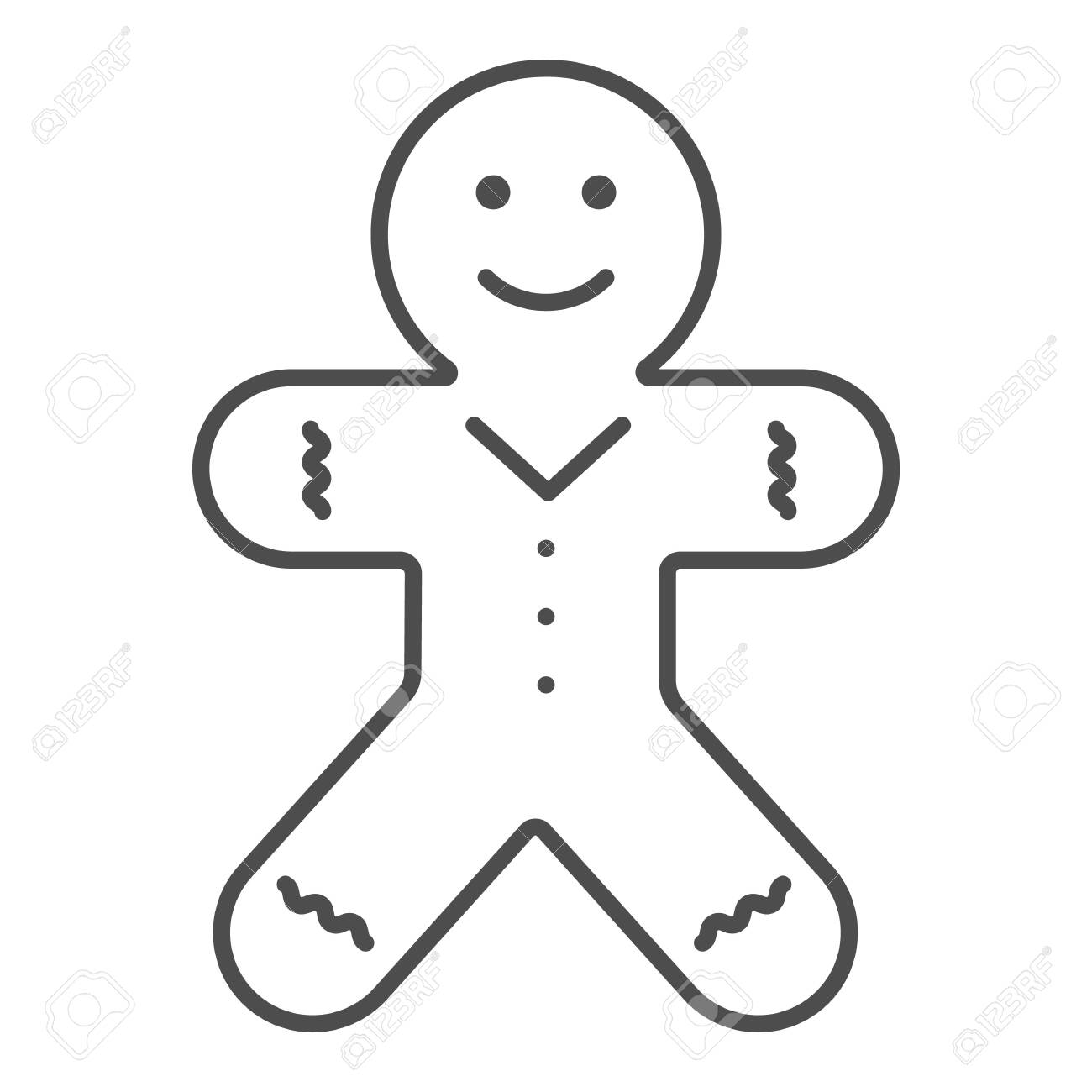 Biscuit Man Line And Solid Icon Gingerbread Man Outline Style Royalty Free Cliparts Vectors And Stock Illustration Image 144689621