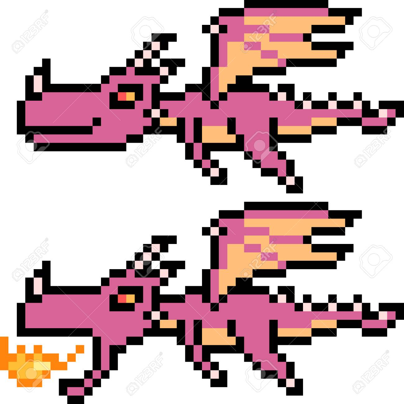 Pixel Art Illustration Of Flying Dragons Royalty Free Cliparts Vectors And Stock Illustration Image 88621199