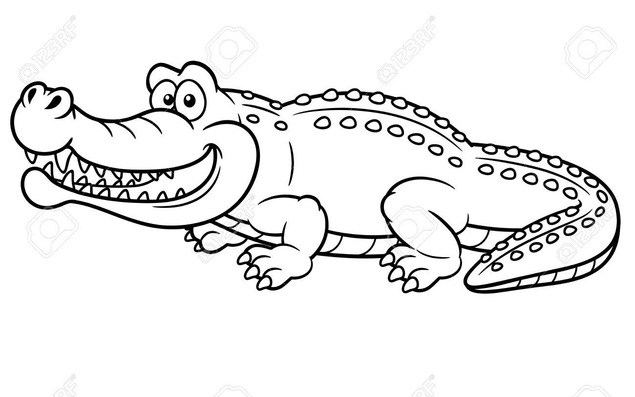 illustration of cartoon crocodile coloring book royalty free
