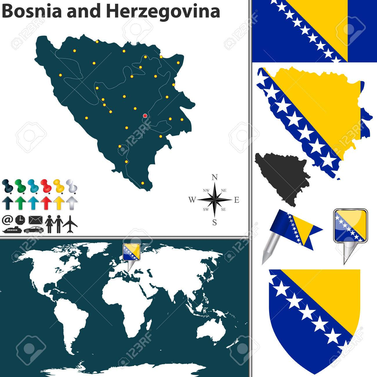 Vector Map Of Bosnia And Herzegovina With Regions Coat Of Arms Royalty Free Cliparts Vectors And Stock Illustration Image 37208080