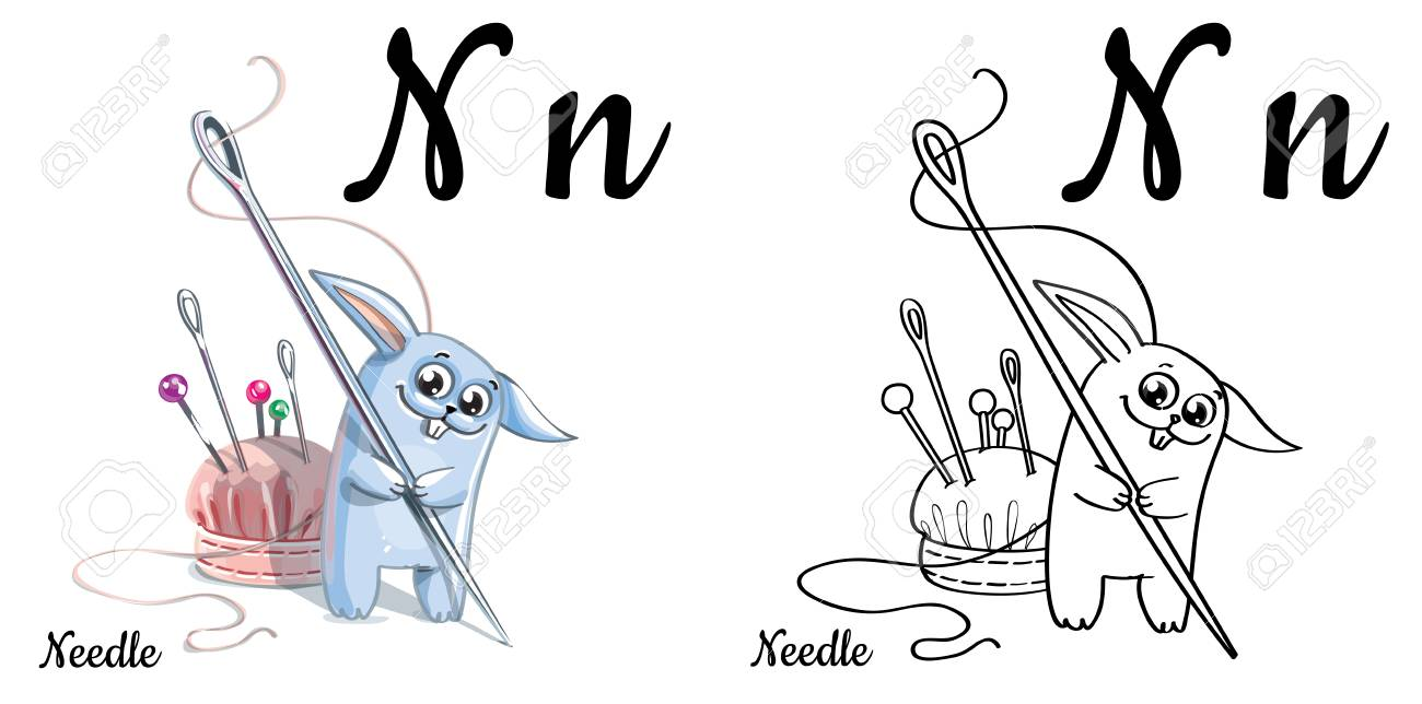 Needle Vector Alphabet Letter N Coloring Page Royalty Free Cliparts Vectors And Stock Illustration Image 82927401