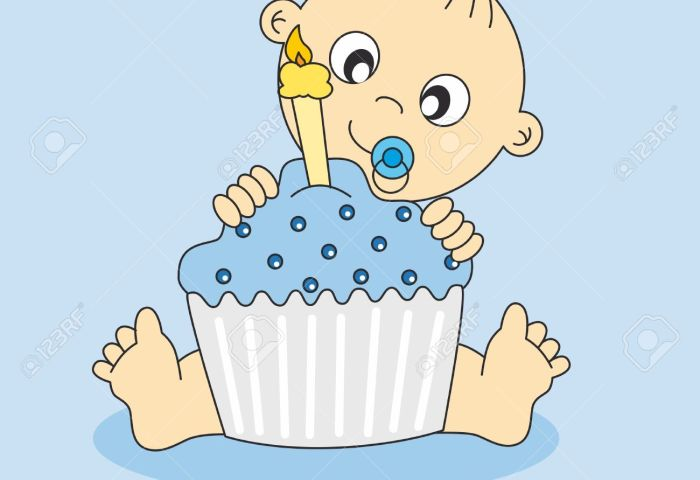 Baby Boy Card With A Birthday Cake First Birthday Royalty Free