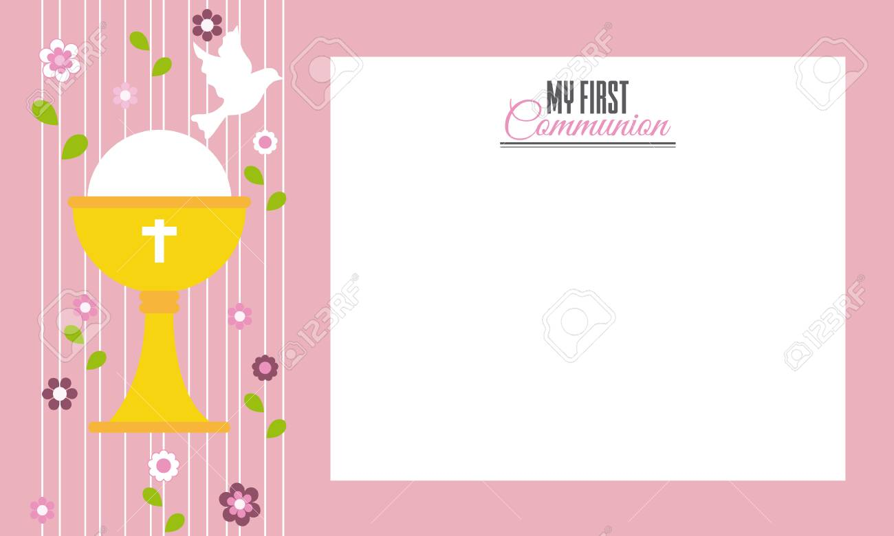 my first communion invitation card space for text