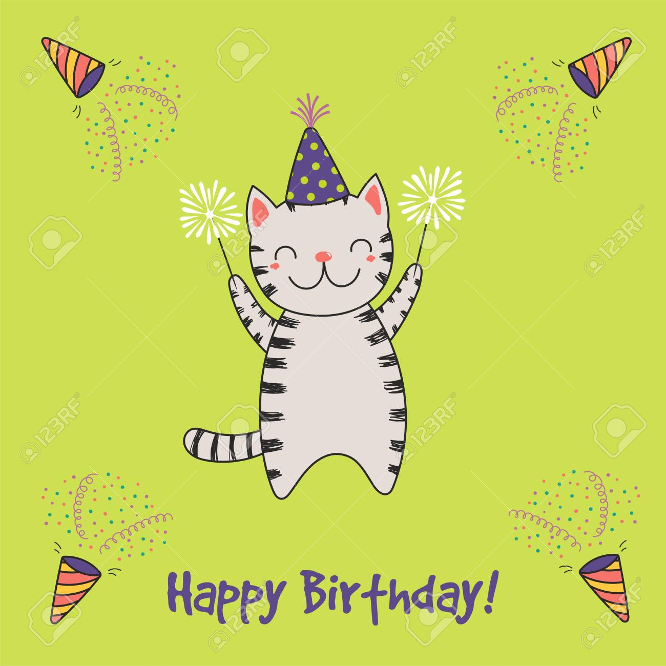 Hand Drawn Happy Birthday Greeting Card With Cute Funny Cartoon Royalty Free Cliparts Vectors And Stock Illustration Image 94825996