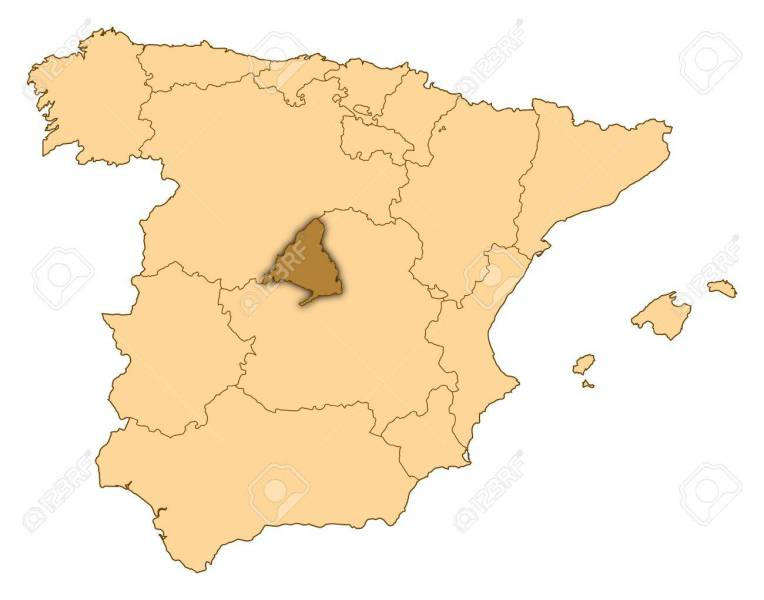 Map of Spain where Madrid is highlighted  Map of Spain where Madrid is highlighted  Stock Photo   14606043