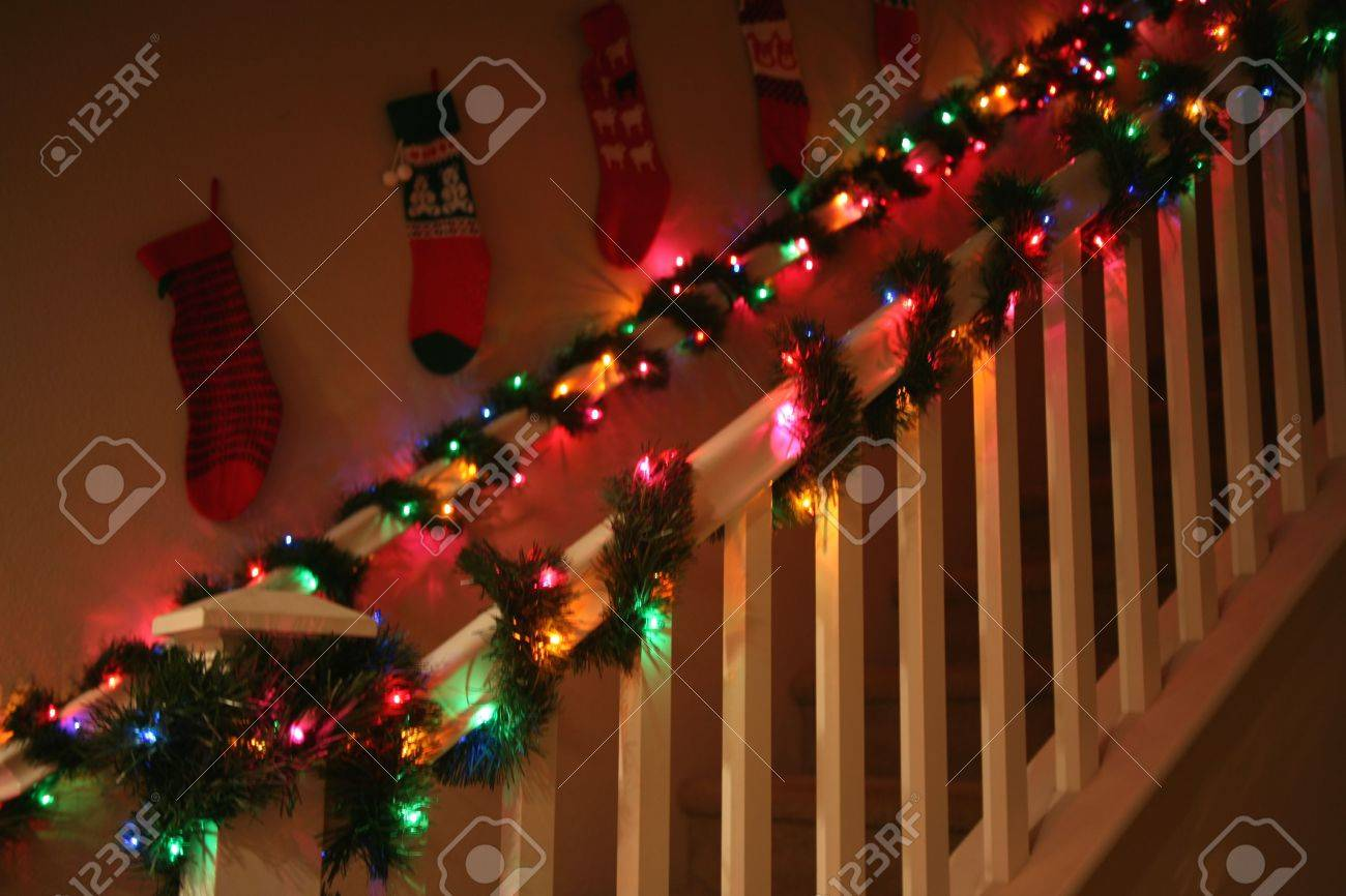 Lovely Banisters Decorated With Christmas Garland And Lights Stock Photo Picture And Royalty Free Image Image 685754