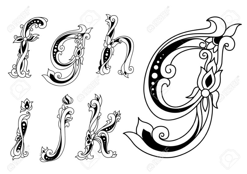 Vintage Fl Ornamental Letters Font With Lowercase F G H