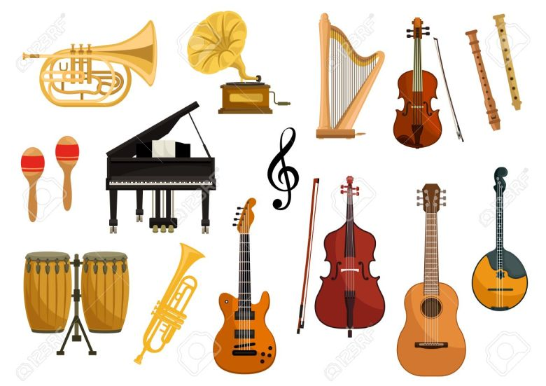 vector icons of musical instruments. isolated string and wind