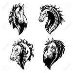 Horse Or Mustang Animal Isolated Icons For Tribal Tattoo And Royalty Free Cliparts Vectors And Stock Illustration Image 112276044