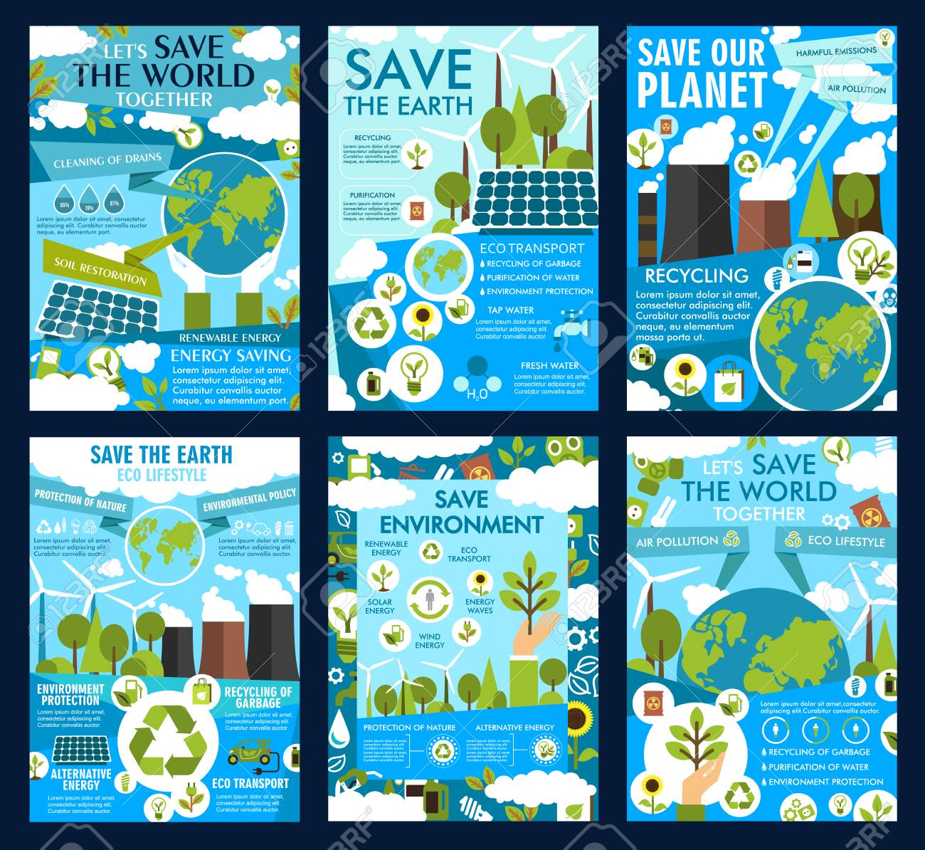 Save Earth Posters For Ecology Protection And Environment Conservation Royalty Free Cliparts Vectors And Stock Illustration Image 110288584