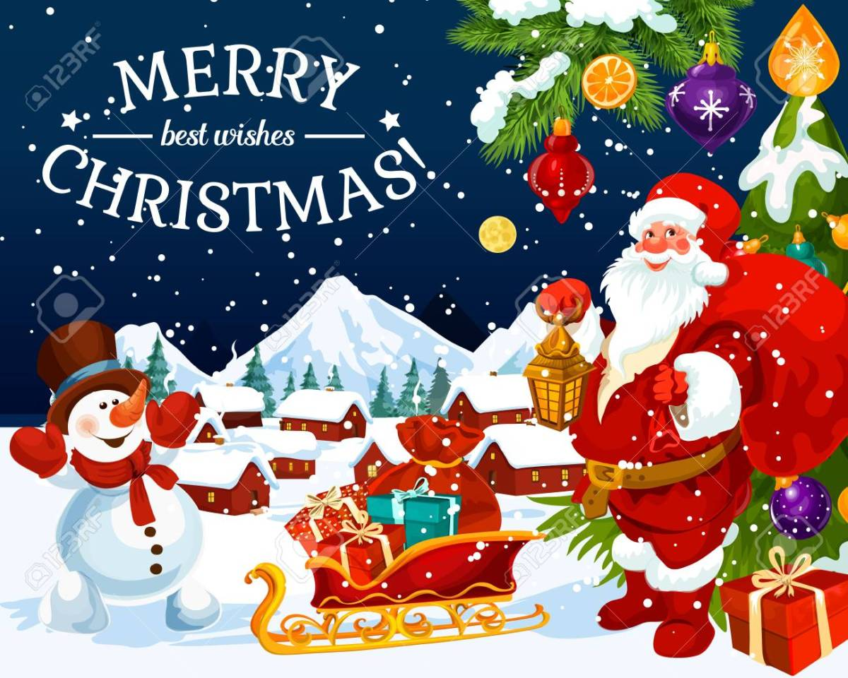 Merry Christmas Greeting Card And New Year Best Wishes Design... Royalty Free Cliparts, Vectors, And Stock Illustration. Image 109651077.