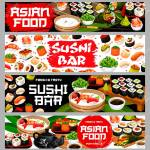 Asian Food Sushi And Rolls Japanese Restaurant Or Bar Vector Royalty Free Cliparts Vectors And Stock Illustration Image 154729157