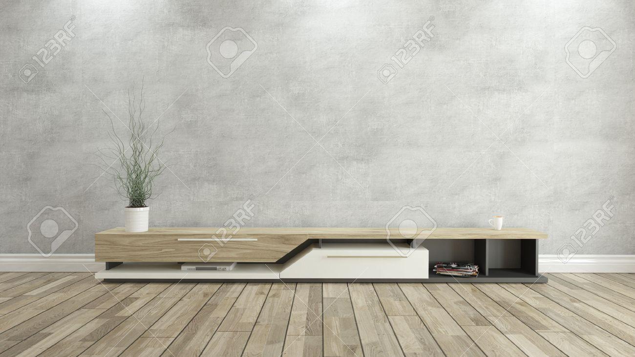 tv stander mit betonwand und holzparkett hintergrund fur design