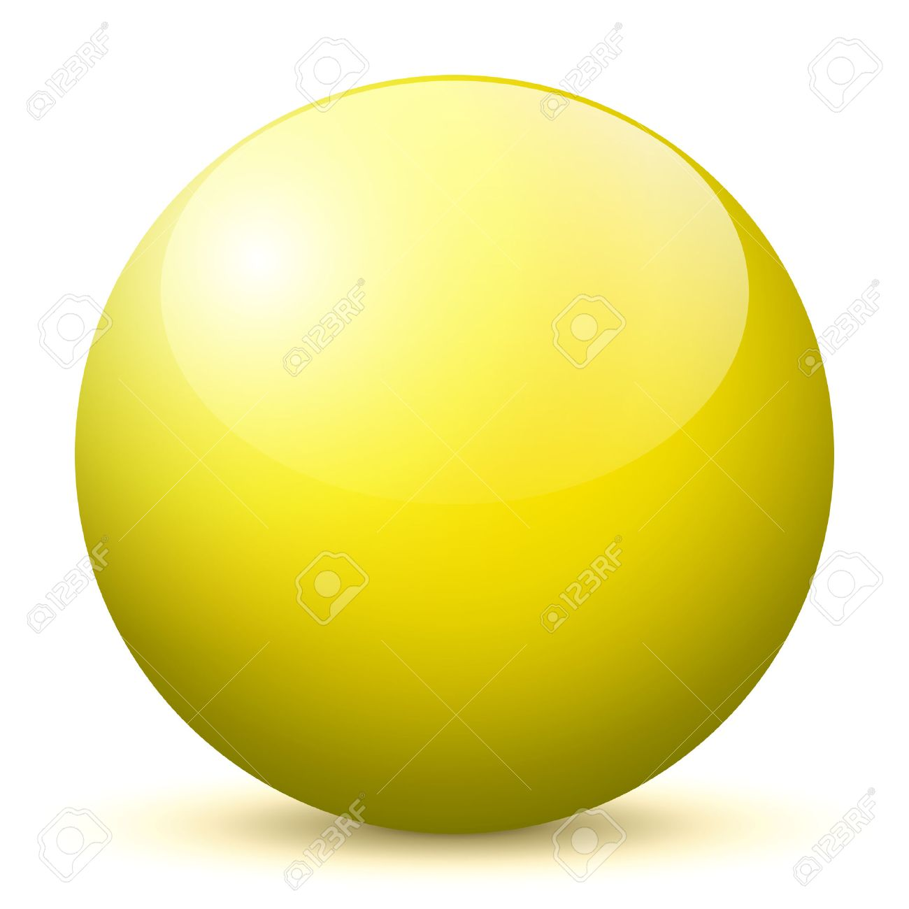 beautiful yellow 3d vector sphere with smooth shadow and white