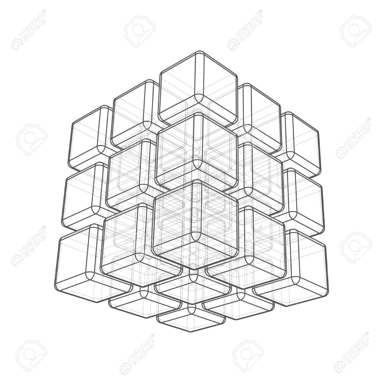 Beautiful segments 8 3d wireframe cube contemporary electrical